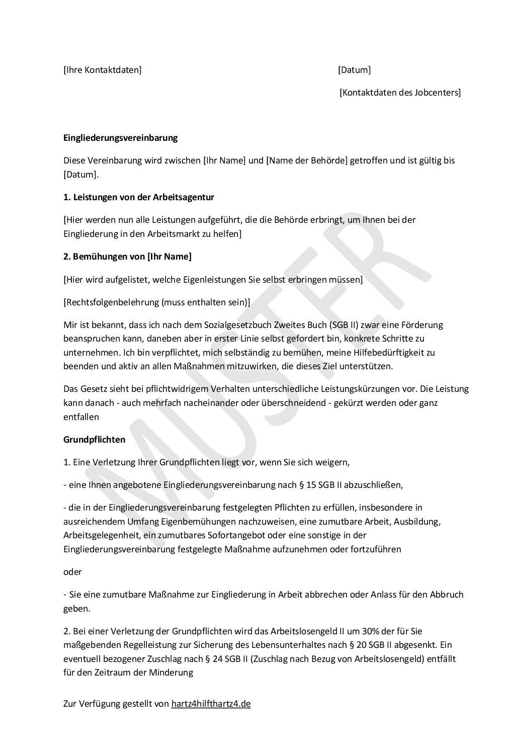 Muster: Eingliederungsvereinbarung